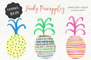Watercolor Clip Art - Fun Pineapples