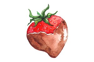 Watercolor chocolate strawberry