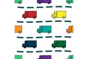 Kids trucks retro background seamless pattern
