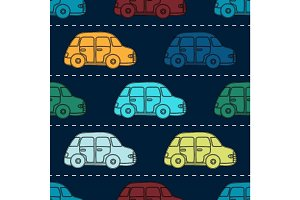 Mini retro car seamless vector pattern