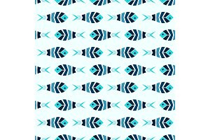 Flock of blue mosaic fish pattern seamless