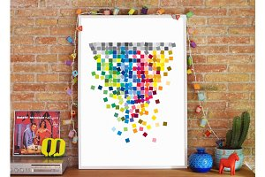 Abstract Geometric Illustr Print Art