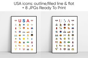 USA Icons Illustration Print