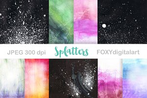 Watercolor Splatter Digital Paper