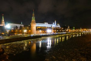 The Kremlin and the Moscow river at night in winter