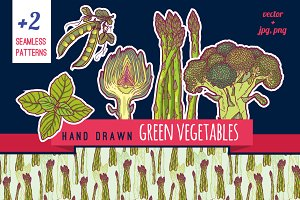 Hand drawn green vegetables pack