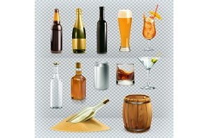 Bottles,glasses alcohol drink.Vector