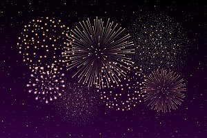 Firework show on night sky vector