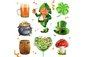 Feast of Saint Patrick.3d vector set