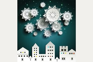 Paper snowflakes in city