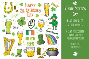 Saint Patrick's Sketched Doodles Set