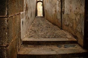 Narrow alley in Caceres (Spain)