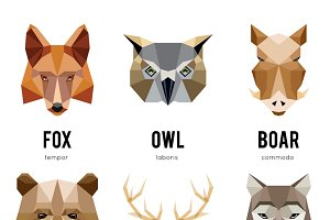 Low polygon animal logos