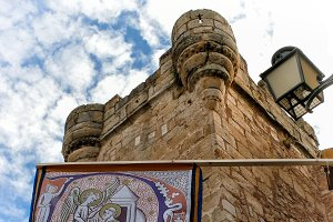 Tower and pennon in Caceres (Spain)