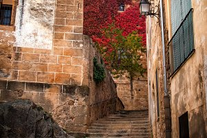 Stairs in alley of Cáceres (Spain)