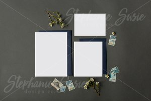 Navy Stationery Invitation Lay Flat