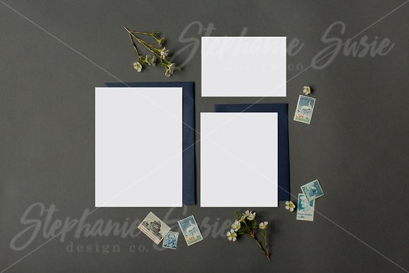 Download Navy Stationery Invitation Lay Flat