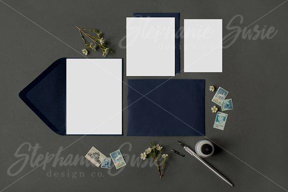 Navy Stationery Invitation Lay Flat