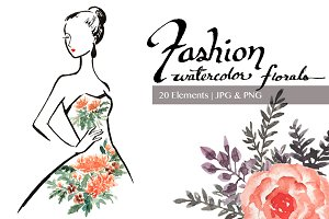 Fashion Clip art - Floral watercolor