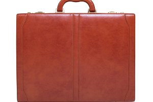 Leather briefcase isolated on white