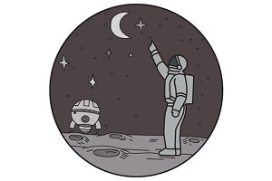Astronaut Pointing Stars Moon