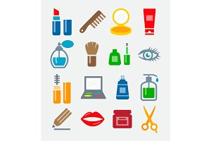 Cosmetics Colorful Icons