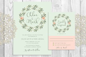 Leaves Wreath Wedding Invitation