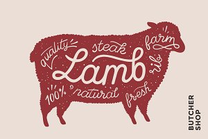 Poster with red lamb silhouette. Lettering