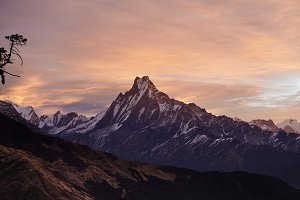 Beautiful landscape of Mount Machapuchare covered with snow and ice and illuminated with pink sunlight. Craggy snowy peak rising above desolate valley. Frosty winter morning high in mountains