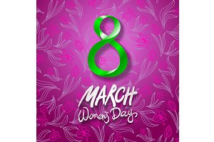 8 March women day, vector. tulip
