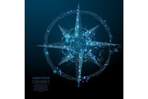 compass rose low poly blue
