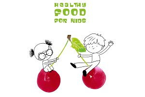 Fun illustration: healthy food kids