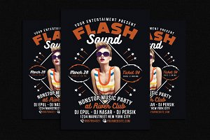 Flash Sound Disco Music Party Flyer