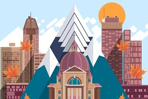 Canada flat design travel concep