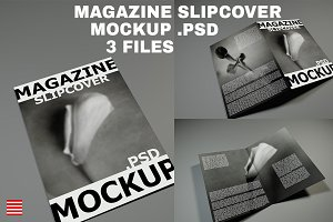 Magazine mockup on gray.