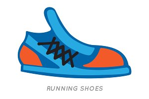 Blue-orange Running Shoes Icon. Isolated on White