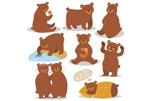 Cartoon bear character different pose vector set.
