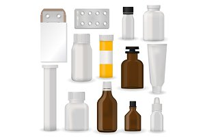 Bottle pack template mockup blank pharmaceutical blister of pills and capsules tube container for drugs clean plastic packaging for medication vector illustration.