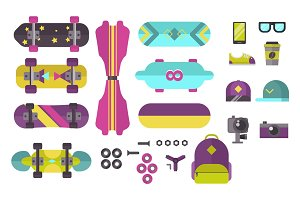 Skateboard icons vector set.