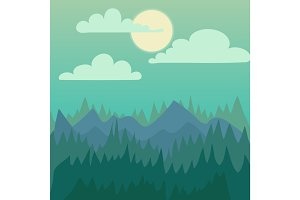 Mountain nature landscape vector illustration.