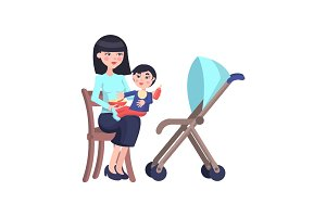Happy Mother Feeds Little Son Flat Vector
