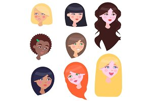 Women Faces Set with Long and Short Hairstyles