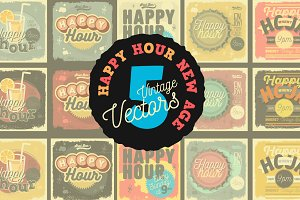 Happy Hour New Age 50's Vectors
