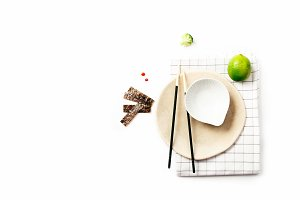 Asian food ingredients on white background