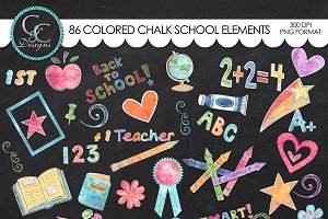 155 Colored Chalk School Elements