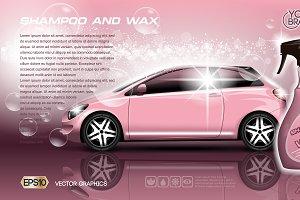 Vector car shampoo wax spray mockup