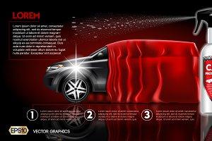 Vector car protection spray mockup