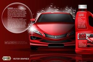 Vector redcar washing product mockup