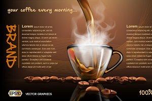 Vector splash steam coffee mockup