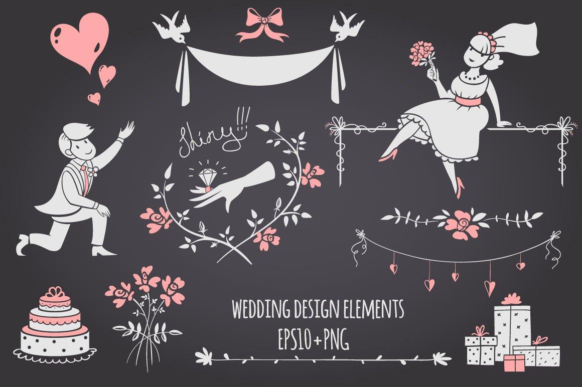 chalkboard wedding design elements illustrations creative market